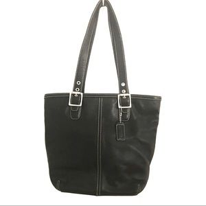 COACH Leather Bag Black Hamptons Lunch Tote